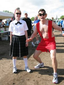 Runners dress as Mary Catherine and Mister Peepers for the 2011 Houska Houska 5K